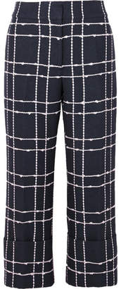 Oscar de la Renta Cropped Checked Cotton-blend Bouclé Straight-leg Pants - Navy