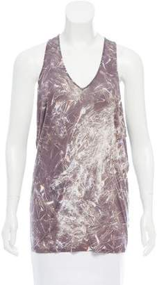 Helmut Lang Printed Draped Top