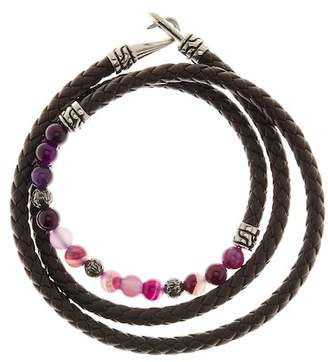 Jean Claude Purple Agate Beaded Leather Wrap Bracelet