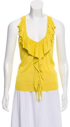 Valentino Knit Ruffle-Accented Top