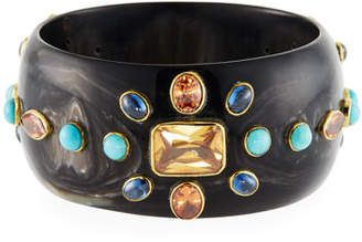 Ashley Pittman Bure Dark Horn Bangle w/ Mixed Stones