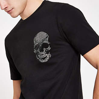 River Island Black rhinestone embellished skull T-shirt
