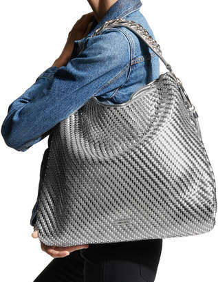 Jimmy Choo CALLIE/L Silver Mix Woven Metallic Fabric Slouchy Shoulder Bag