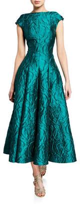 Talbot Runhof Rose-Jacquard Satin Tea-Length Dress