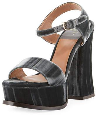 Laurence Dacade Perla Velvet Platform 130mm Sandal