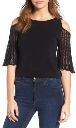 Women's Ella Moss Avalyn Pointelle Sleeve Cold Shoulder Sweater $145 thestylecure.com