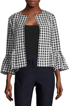August Silk Women's Gingham Open-Front Jacket