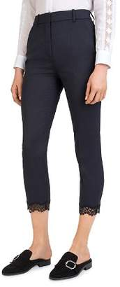 The Kooples Cropped Lace-Hem Stretch Pants