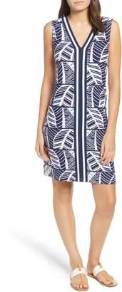 Tommy Bahama Palm Leaf Stripe Sleeveless Shift Dress