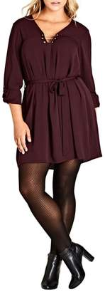 City Chic Pierced Heart Belted Tunic