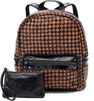 Amerileather AmeriLeather Berne Leather Basketweave Backpack with Coin Purse