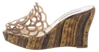 Oscar de la Renta Cork Wedge Sandals