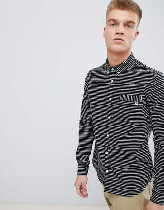 Pretty Green jacquard shirt in black