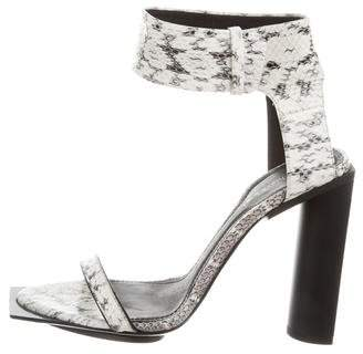 Calvin Klein Collection Snakeskin Ankle Strap Sandals