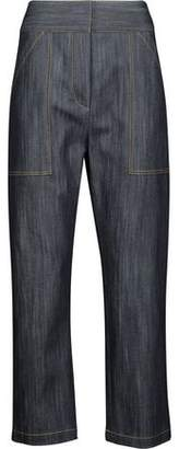 ADAM by Adam Lippes Cropped Embroidered Straight-Leg Jeans