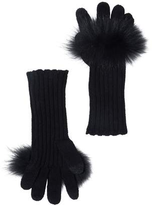 Sofia Cashmere Wool Cashmere Genuine Fur Glove With Touch Tech