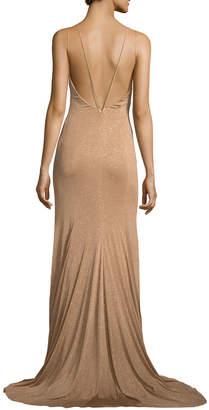 Jovani Metallic V-Neck Strappy Gown