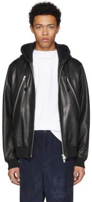Maison Margiela Black Leather Hoodie Jacket