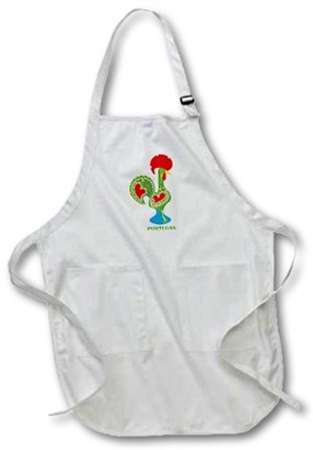 3dRose The green Portuguese Rooster or galo de barcelos - Full Length Apron, 24 by 30-inch, White, With Pockets
