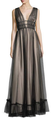 Zac Posen Ruth Sleeveless Plunging Evening Gown