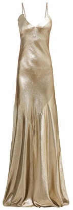 Rebecca De Ravenel - Lame Braided Strap Floor Length Gown - Womens - Gold