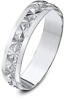 Theia Heavy Weight D-Shape Star Centre Design 9 ct White Gold Wedding Ring,5 mm - Size P