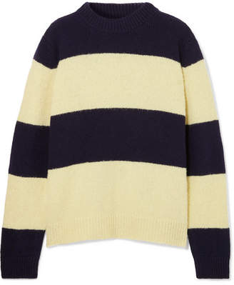 Chinti and Parker Sombrero Striped Wool-blend Sweater - Navy