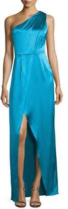 Zac Posen One-Shoulder Ruched Satin Gown, River Blue