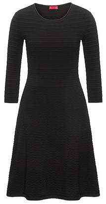 HUGO BOSS Crew-neck knitted dress in mixed 3D structures