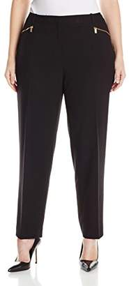 Calvin Klein Women's Plus-Size Slim Suiting Pant with Zipper