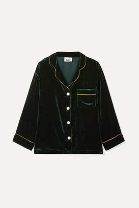 Sleepy Jones - Marina Grosgrain-trimmed Velvet Pajama Shirt - Emerald