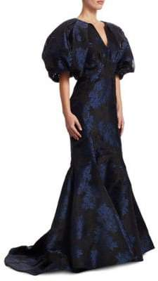 Zac Posen Balloon-Sleeve Trumpet Gown