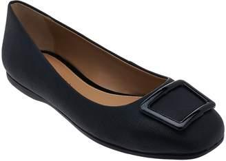 Judith Ripka Saffiano Leather Slip-on Flats w/ Buckle Detail - Sally