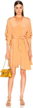 Tibi Long Sleeve Wrap Dress in Sunset Orange   FWRD