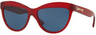 Burberry Doodle Cat-Eye Acetate Sunglasses
