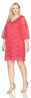 Julian Taylor Women's Plus Size Full Figured All Over Lace A-line V-Neck Dress