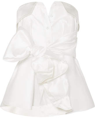 Alexis Mabille Bow-detailed Satin-twill Top - White