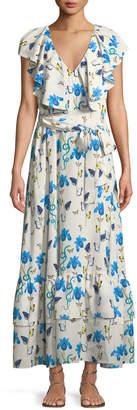Borgo De Nor V-Neck Sleeveless Butterfly & Iris-Print Maxi Dress