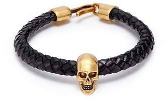 Alexander McQueen Skull charm braided leather bracelet