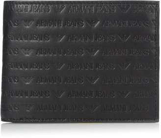 Armani Jeans Men's All Over Logo Embossedtrifold Wallet 13x10x2