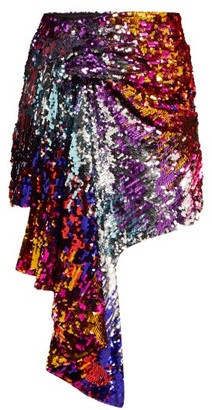 Halpern - Draped Sequinned Mini Skirt - Womens - Multi