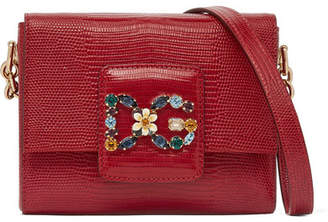 Dolce & Gabbana Millennials Embellished Lizard-effect Leather Shoulder Bag - Red