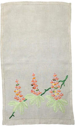One Kings Lane Vintage English Linen Embroidered Hand Towel - Heather Cook Antiques