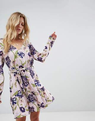 MinkPink Floral Printed Wrap Dress