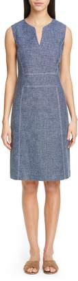 Lafayette 148 New York Brett Contrast Stitch Cotton & Linen Dress