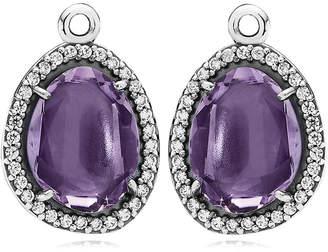 Pandora Glamorous Legacy Silver Amethyst & Cz Earring Charms