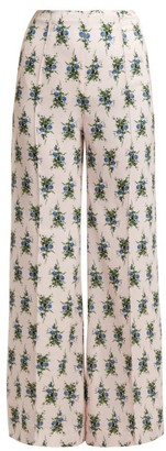 Emilia Wickstead Hullinie Floral Print Crepe Trousers - Womens - Blue Print