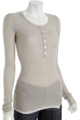 Inhabit light grey cashmere thermal henley