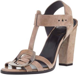 Roger Vivier Suede T-Strap High Sandal