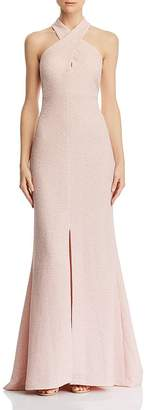 Eliza J Cross-Neck Textured Gown